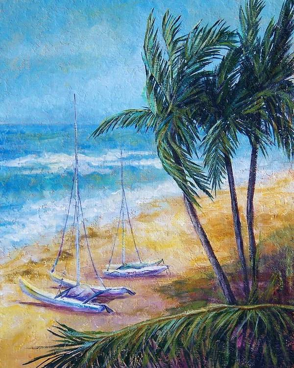 Seascape Poster featuring the painting Soliman Bay by Candy Mayer