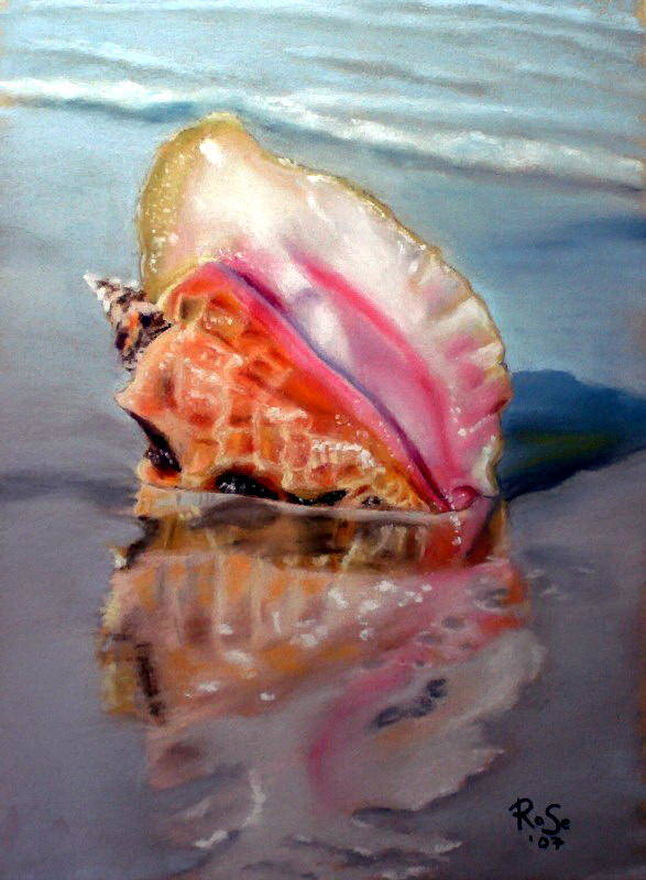 Seashell Poster featuring the painting Solitary Conch by Rose Sciberras