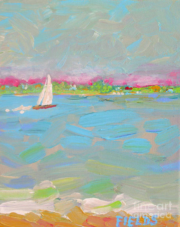 Sailboat Poster featuring the painting Solo Sail by Karen Fields
