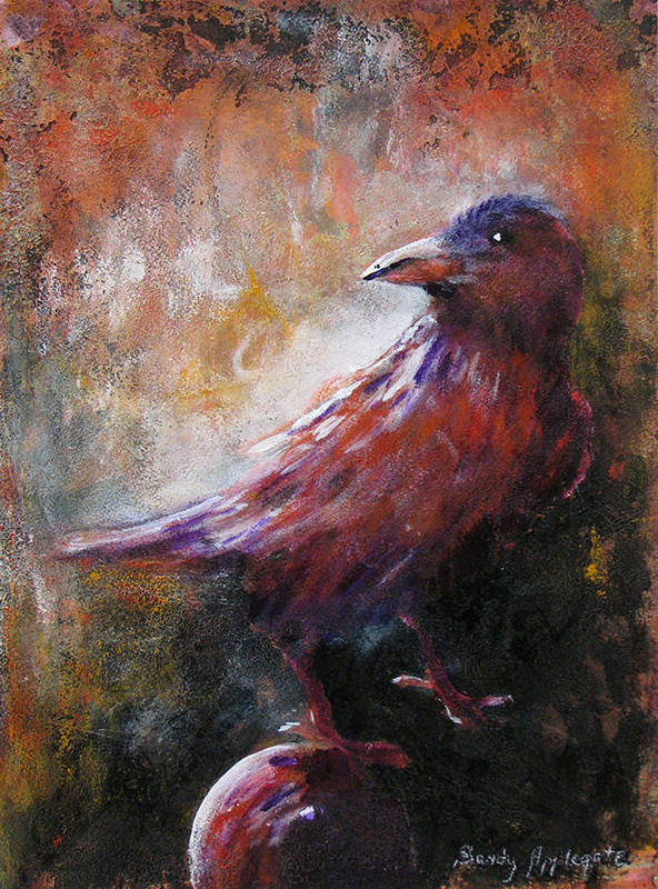 Raven Poster featuring the painting Some Late Visitor by Sandy Applegate