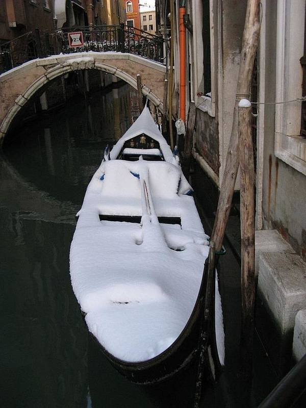 Venice Poster featuring the photograph Snowy Gondola by Erla Zwingle