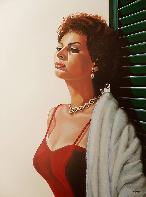 Sophia Loren Poster featuring the painting Sophia Loren by Paul Meijering