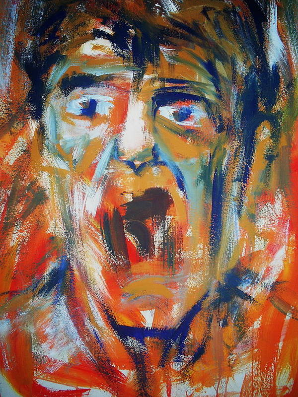 Portrait Poster featuring the painting Soundless Scream by Umit Ozkanli