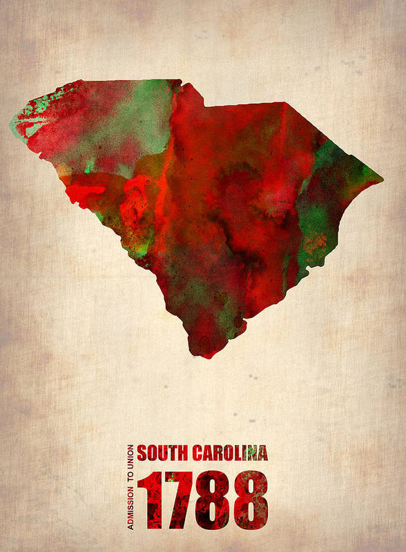 South Carolina Poster featuring the digital art South Carolina Watercolor Map by Naxart Studio