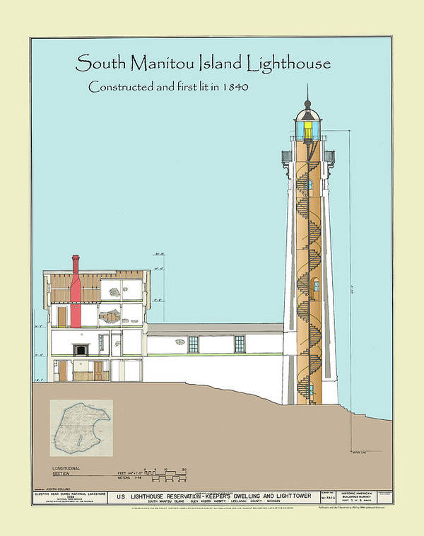 South Manitou Island Lighthouse Poster featuring the drawing South Manitou Island Lighthouse Color Drawing by Jerry McElroy