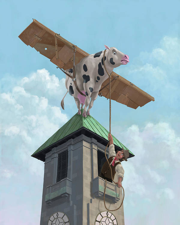 Cartoon Cow Poster featuring the painting Southampton Cow Flight by Martin Davey