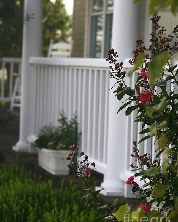 Summer Poster featuring the photograph Southern Summer Flowers And Porch by Nadine Rippelmeyer