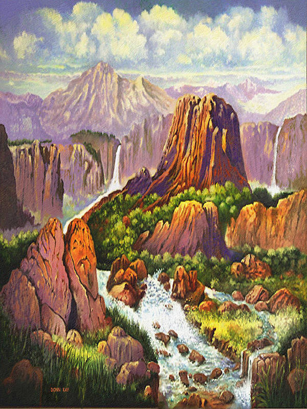 Arizona New Mexico Waterfalls Rocks Danger Mountains Giclee Prints Poster featuring the painting Southwest Mountain Floodwaters by Donn Kay