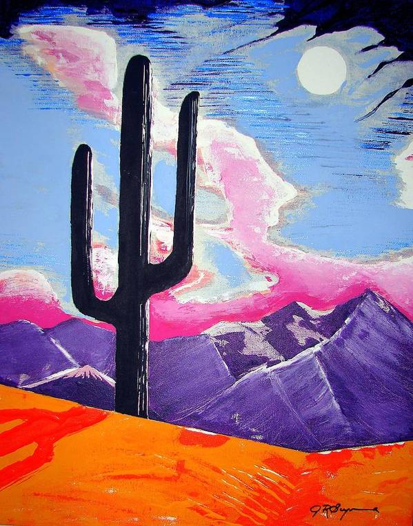 Cactus Poster featuring the painting Southwest Skies 2 by J R Seymour