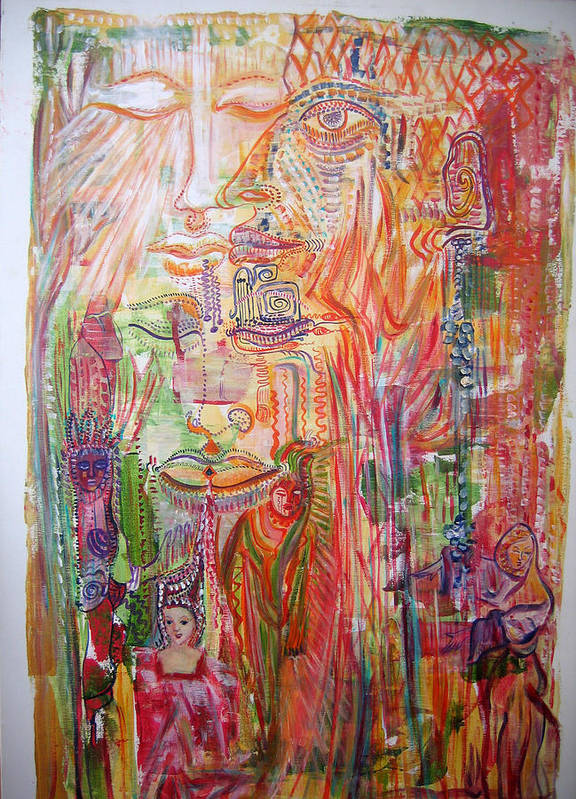 Past Lifes Poster featuring the painting Souvenirs by Helene Champaloux-Saraswati