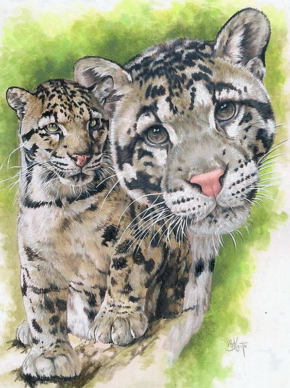 Clouded Leopard Poster featuring the mixed media Sovereignty by Barbara Keith