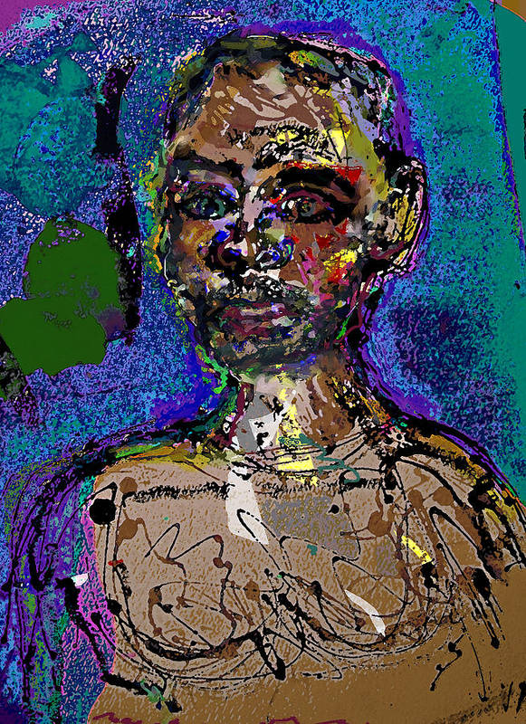 Self Portrait Poster featuring the painting Sp 110108 by Noredin Morgan