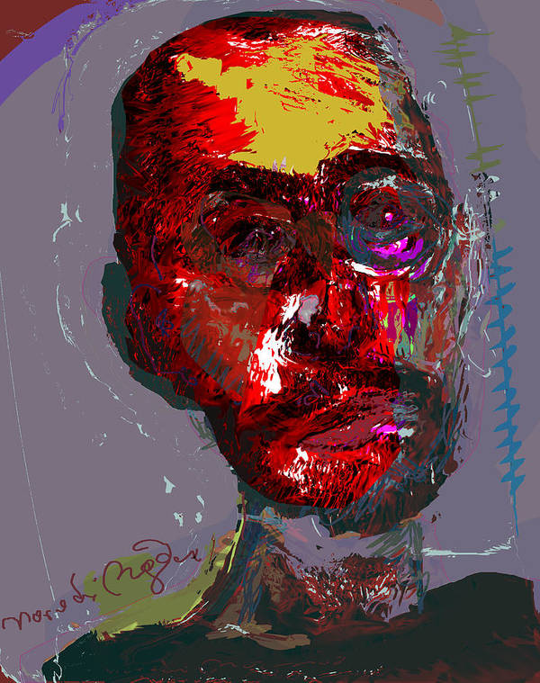 Self Portrait Poster featuring the painting Sp82708 by Noredin Morgan