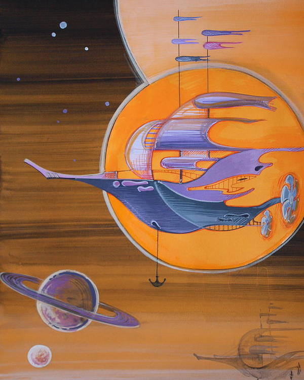 Space Poster featuring the painting Space Ships by Nadia Gallagher