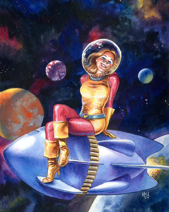 Women Poster featuring the painting Spacegirl by Ken Meyer