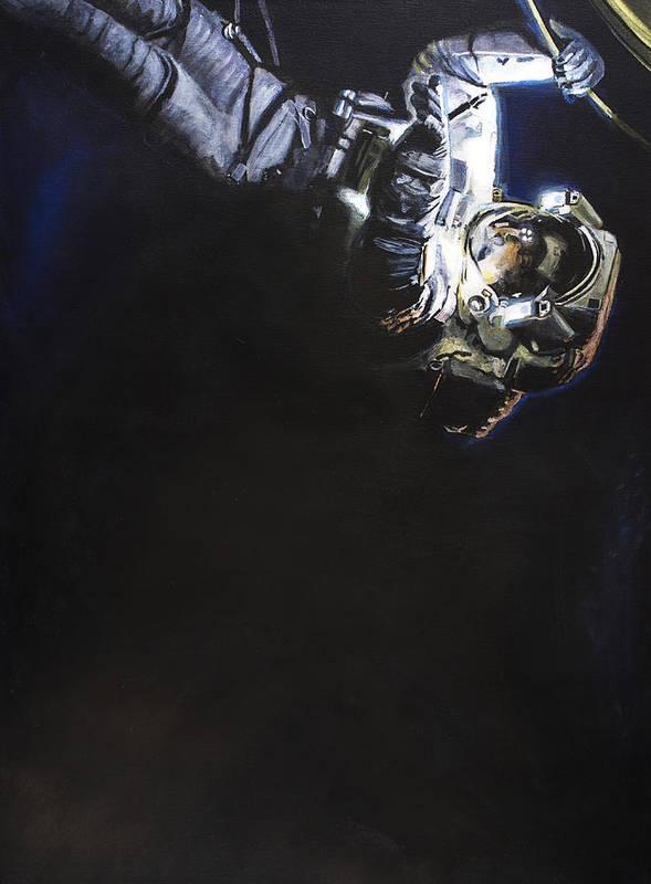 Spacewalk Poster featuring the painting Spacewalk 1 by Simon Kregar