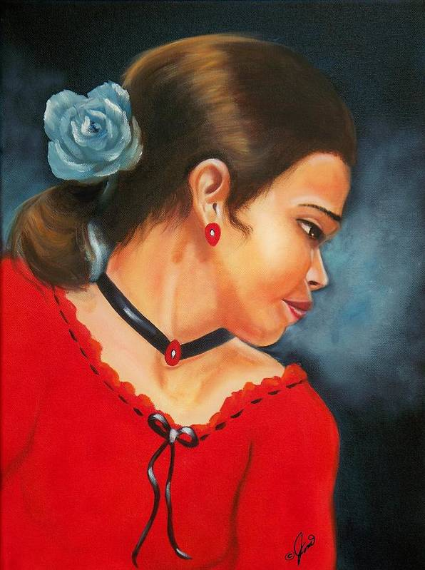 Portrait Poster featuring the painting Spanish Rose by Joni McPherson