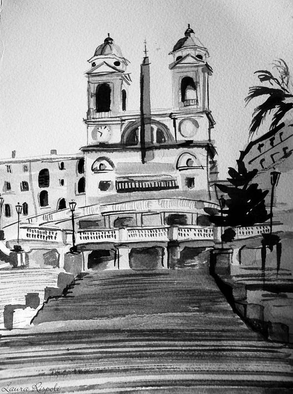 Ink Poster featuring the painting Spanish Steps by Laura Rispoli