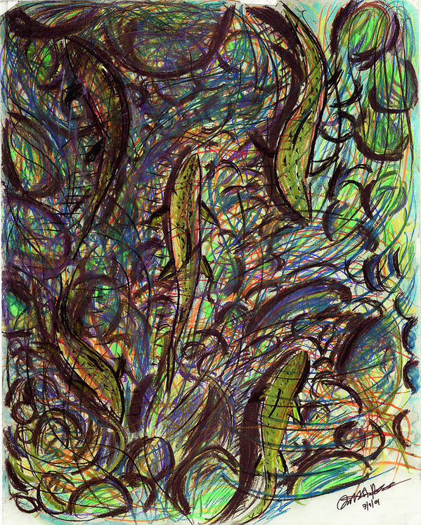 Fish Art Poster featuring the pastel Spawning In Pastel by Diallo House