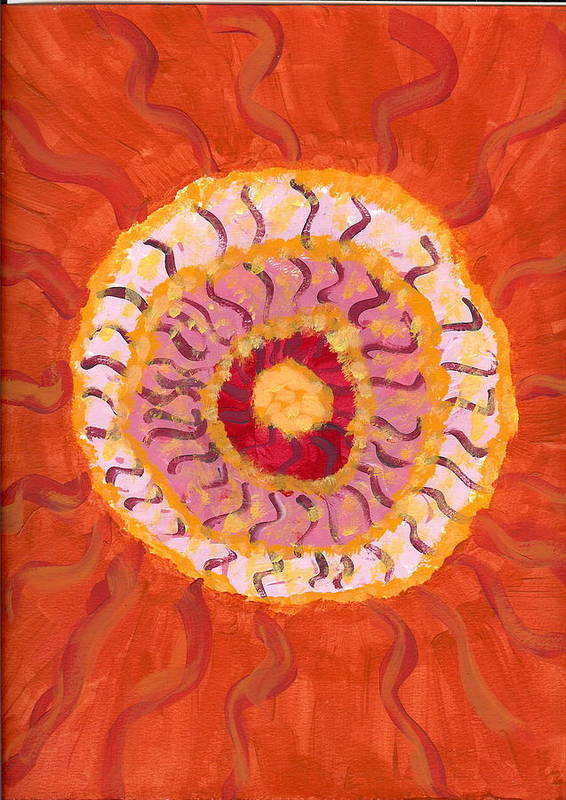 Flower Poster featuring the painting Spiraling To The Center by Laura Lillo
