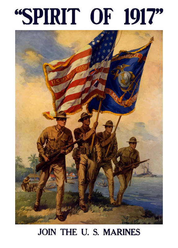 Marines Poster featuring the painting Spirit Of 1917 - Join The US Marines by War Is Hell Store