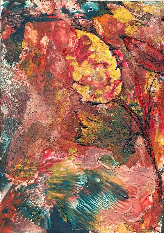 Abstract Encaustic Poster featuring the painting Spirit Of Autumn by Heather Hennick