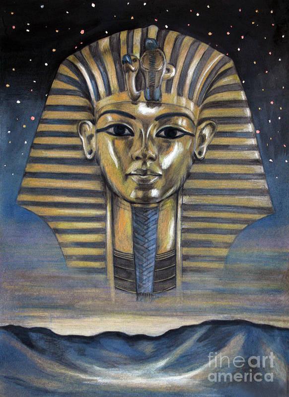 Ancient Egypt Tutankhamun Pharaon King Tut Poster featuring the pastel Spirit Of Egypt by Stoyanka Ivanova
