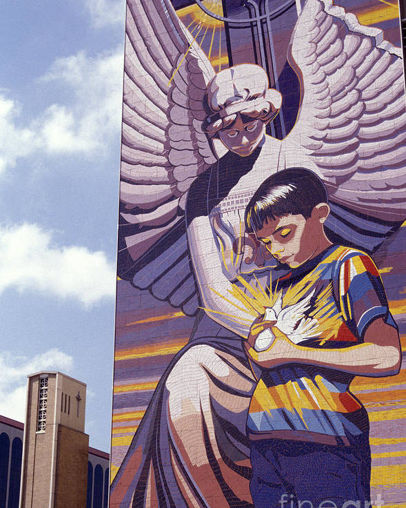 Texas Poster featuring the photograph Spirit Of Healing Mural San Antonio Texas by John Mitchell