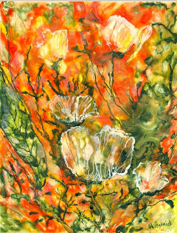 Abstract Poster featuring the painting Spirits Of Roses by Heather Hennick
