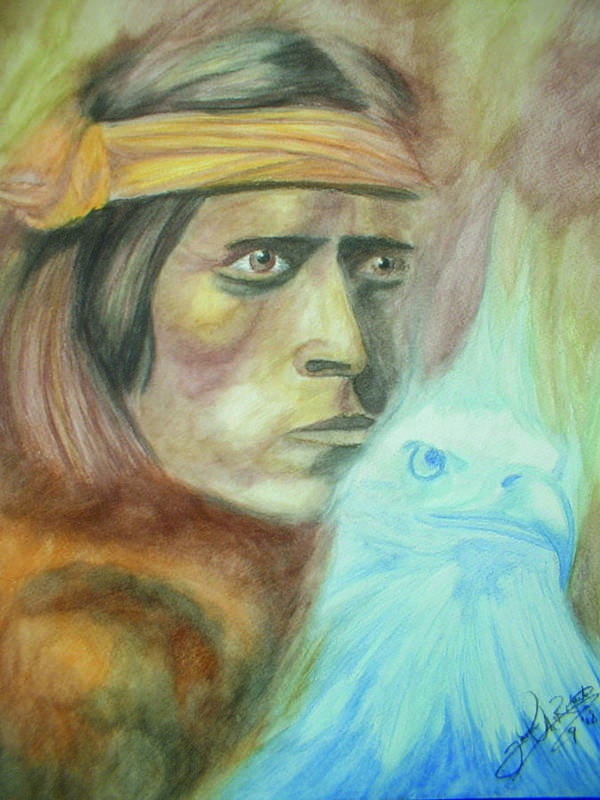 Native American Poster featuring the painting Spirits3 by Jason McRoberts