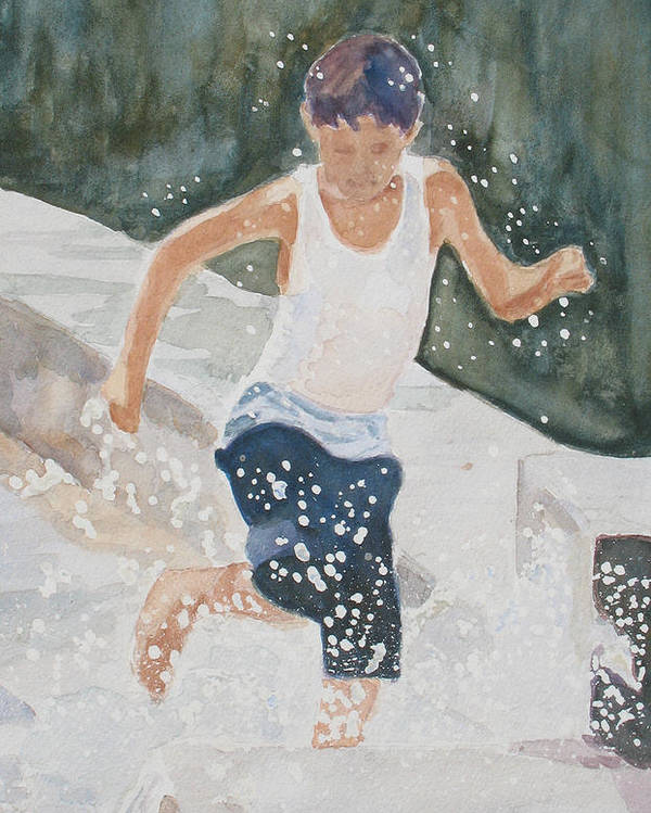 Boy Poster featuring the painting Splash Dance by Jenny Armitage