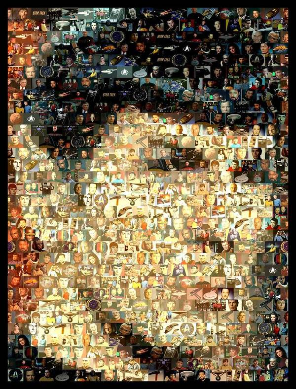 Spock Poster featuring the digital art Spock Star Trek Mosaic by Paul Van Scott