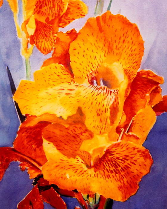 Yellow Poster featuring the painting Spotted Canna by M Diane Bonaparte