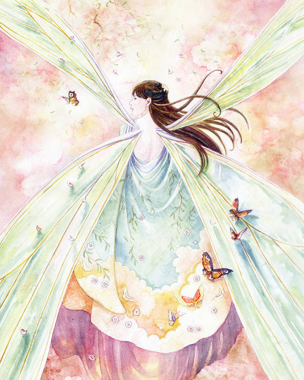 Fairy Poster featuring the painting Spring Blossoms by Janet Chui