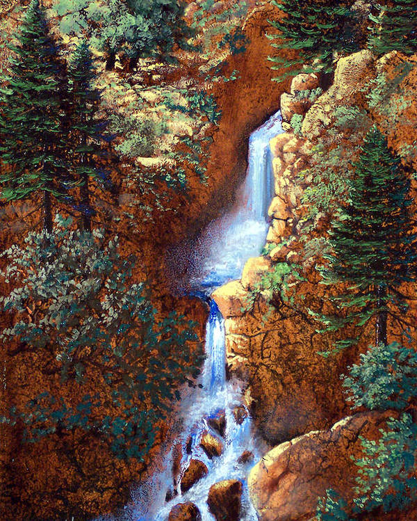 Wilderness Poster featuring the painting Spring Cascade by Frank Wilson