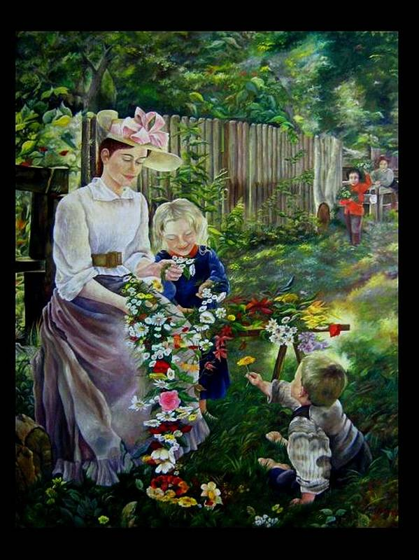 Nature And Faces - Persons Poster featuring the painting Spring Idyll by Netka Dimoska