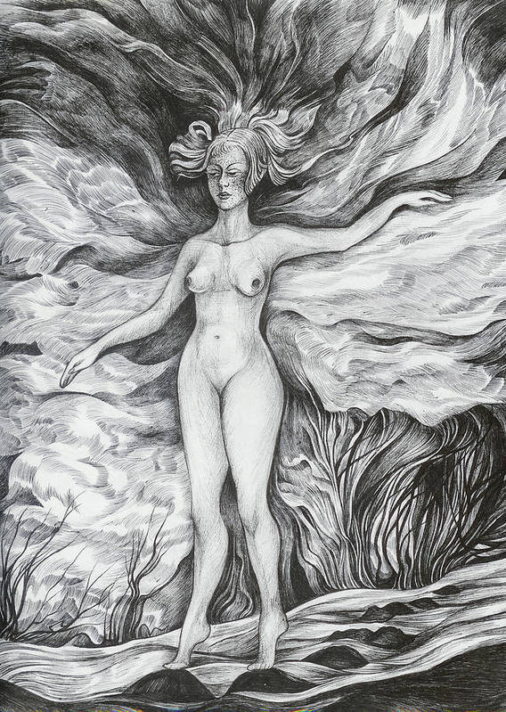 Fantasy Poster featuring the drawing Spring II by Anna Duyunova