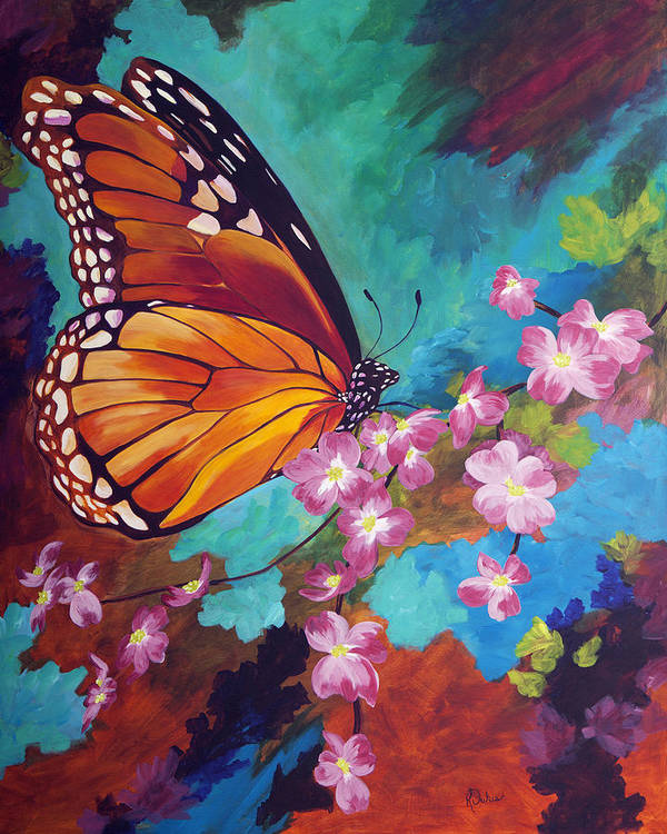 Butterfly Poster featuring the painting Spring Morning by Karen Dukes