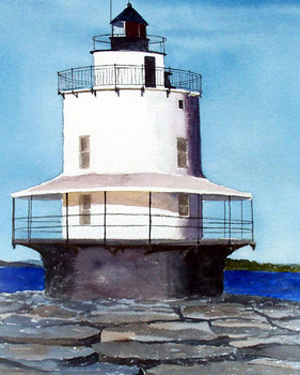 Landscape Poster featuring the print Spring Point Ledge Light by Anne Trotter Hodge