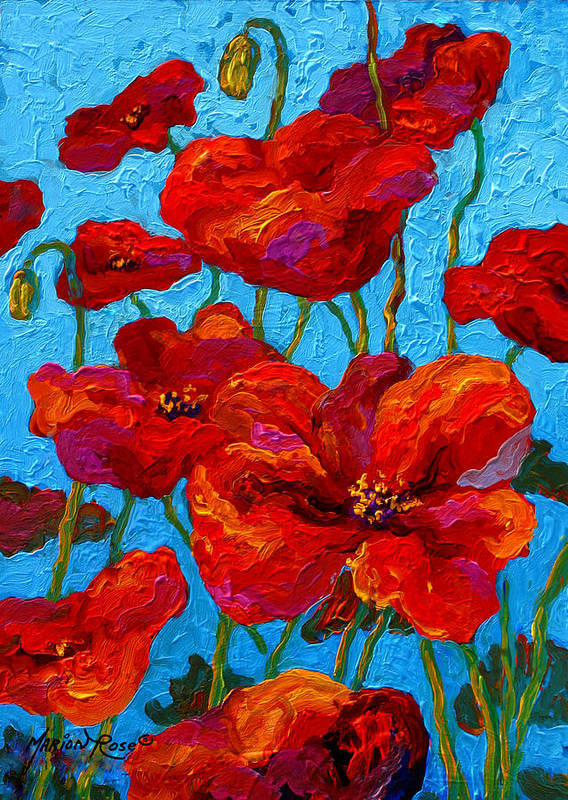 Poppies Poster featuring the painting Spring Poppies by Marion Rose