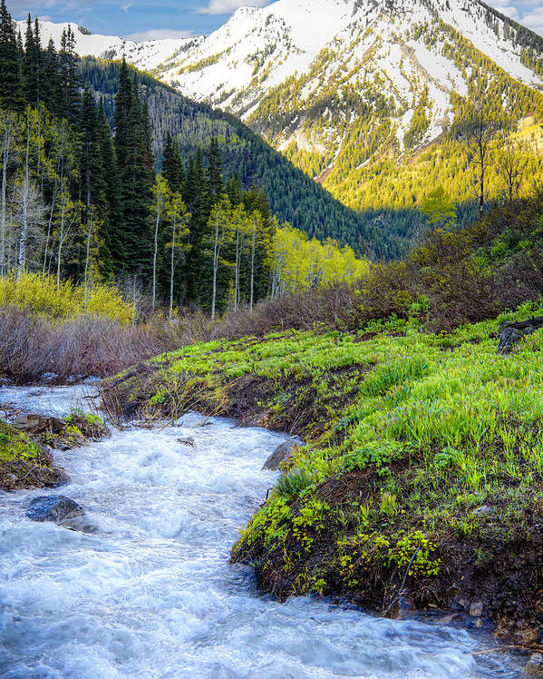 Wasatch Mountains Poster featuring the photograph Spring Snow Melt Wasatch Mountains Utah by Utah Images