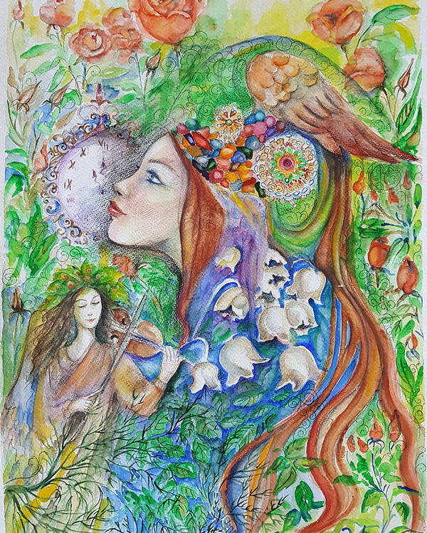 Lilies Of The Valley Poster featuring the mixed media Spring Song by Rita Fetisov