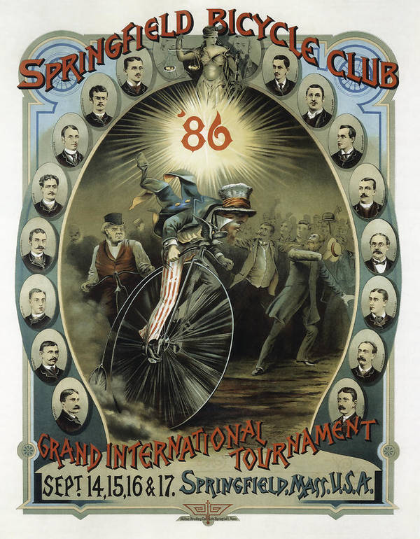 Bicycle Poster featuring the photograph Springfield Bicycle Club 1886 by Daniel Hagerman
