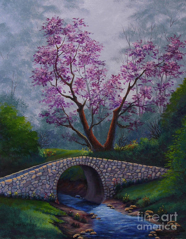 Landscape Poster featuring the painting Springtime by Jerry Walker