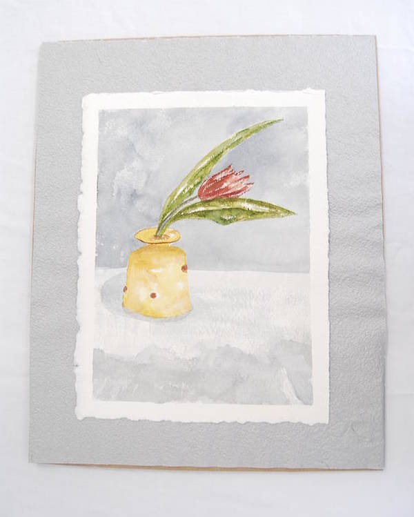 Tulip In Yellow Vase Poster featuring the painting Springtime by Marti Kuehn