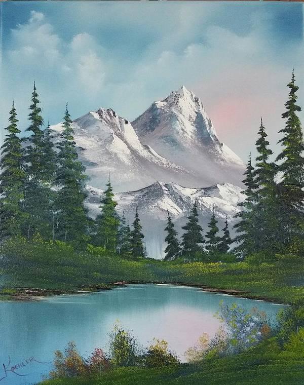 Mountain Poster featuring the painting Springtime Mountain by John Koehler