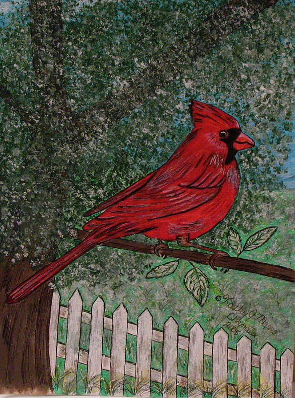 Springtime Poster featuring the painting Springtime Red Cardinal by Kathy Marrs Chandler