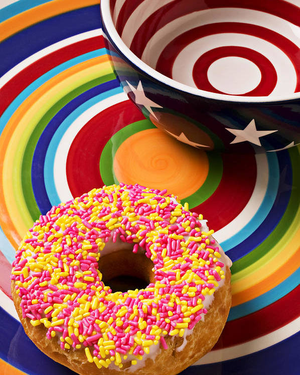Donuts Poster featuring the photograph Sprinkled Donut On Circle Plate With Bowl by Garry Gay