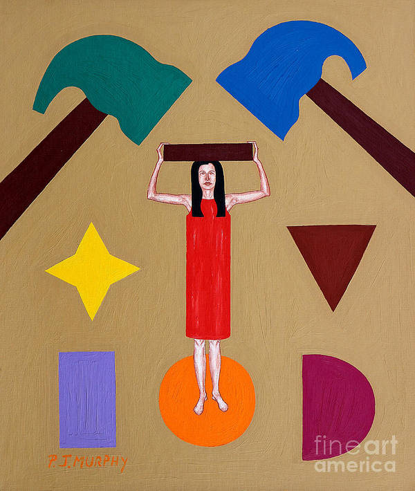Square Peg Poster featuring the painting Square Peg Round Hole by Patrick J Murphy