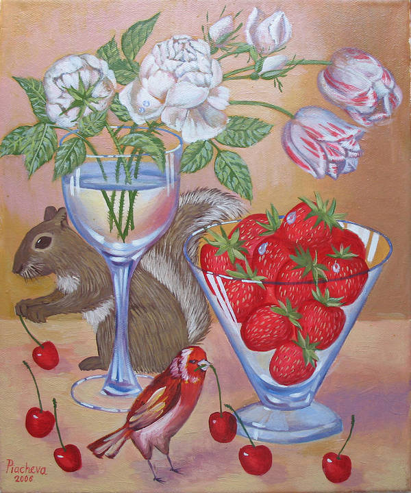 Food Poster featuring the painting Squirrel Cherry .2006 by Natalia Piacheva